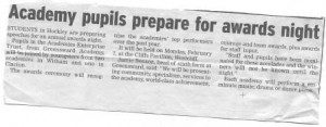 Press release for school client published in local newspaper
