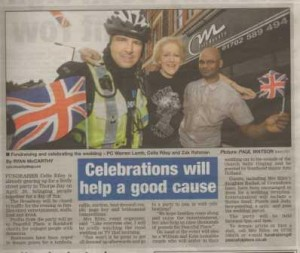 Charity press release on royal wedding published in local newspaper