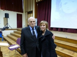 Kelly with Holocaust survivor Leslie Kleinman