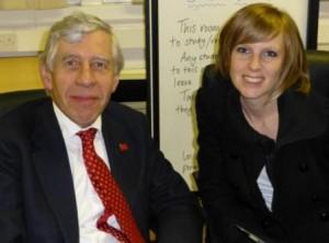 Journalist Kelly interviewing Jack Straw MP