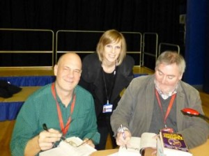 Journalist Kelly with author Paul Stewart and illustrator Chris Riddell